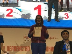 Irina Larinonva - World Champion 2018 at the podium of the Russian Muaythai Championships 2019