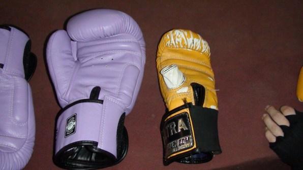 Left - my gloves, right - Emma's bag gloves ;D