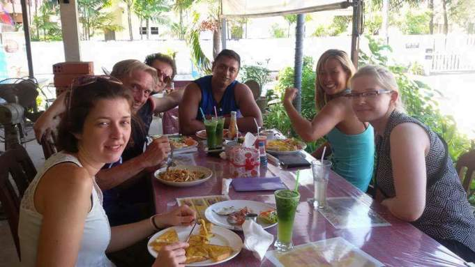 Our happy group at our usual place: Sai's Cashew Nut restaurant