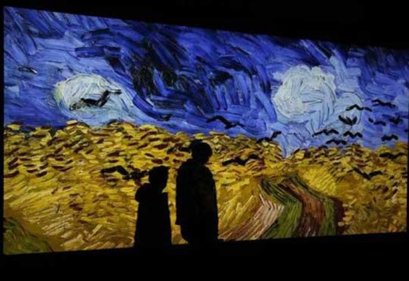 """Wheat Field with Crows"" projected; pic: Musée d'Orsay"