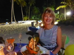 Brenda enjoys her lobster dinner