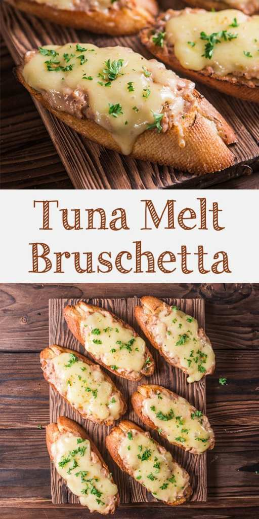Tuna melt bruschetta is easy and delicious Italian inspired appetizer. Cheesy, creamy and savory tuna topped baguette.