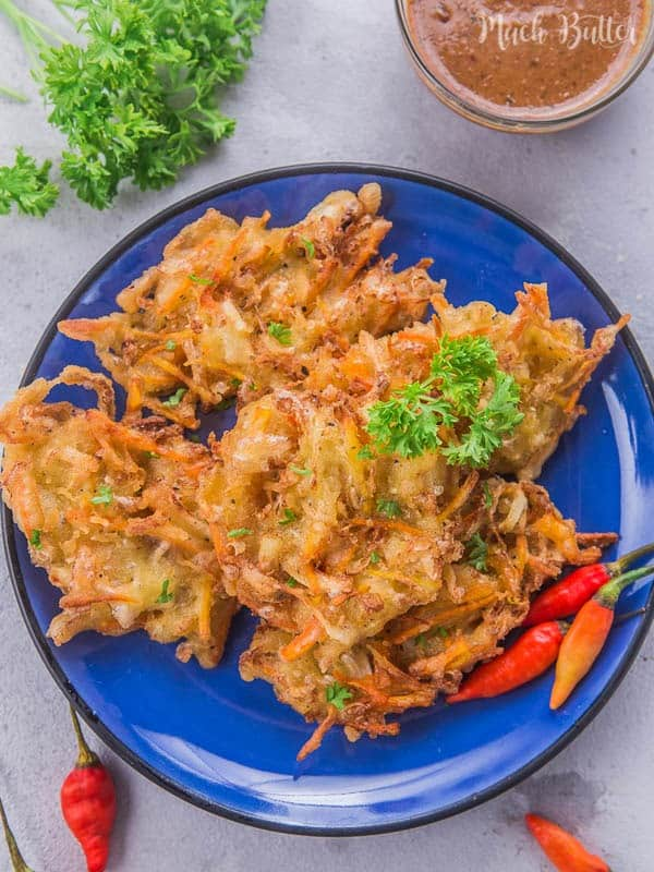 Crispy vegetable fritters or bakwan is one of famous street food snacks in Indonesia. It's often served with green bird's eye chili or sweet and savory peanut sauce. Bakwan is also vegan.