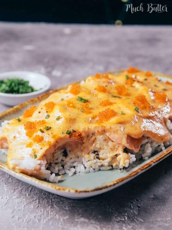 Tobiko salmon mayo rice is a delicious savory dish for seafood lovers. It tastes like you are in the ocean, the sauce is smooth like butter.