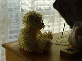 This little teddy bear is made from a chenille bedspread -