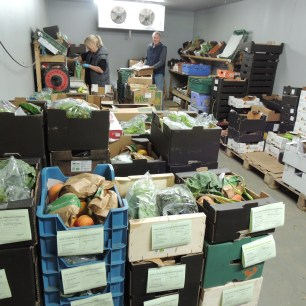 Packing area with veg boxes