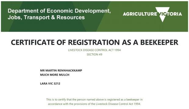 Bees - Beekeeper certificate