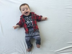 stylish hipster baby in his mama said tees