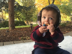 munching on his radrevo taggie teether while wearing his rad revolution flannel lined cozy hood!