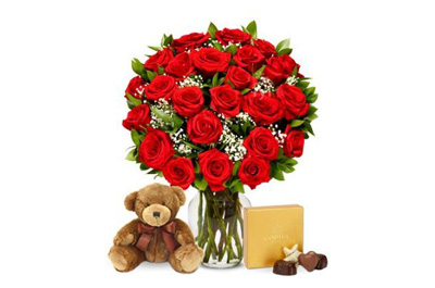 Two Dozen Long Stemmed Red Roses with Godiva Chocolates & Bear