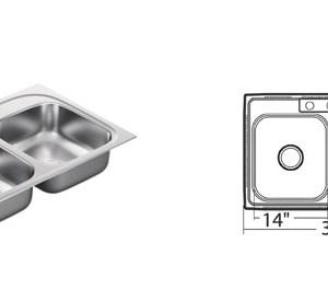 Moen G222173 2200 Series Double Bowl Drop-In Sink