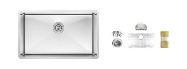 Zuhne Inch Undermount Deep Single Bowl Gauge Stainless Steel Kitchen Sink