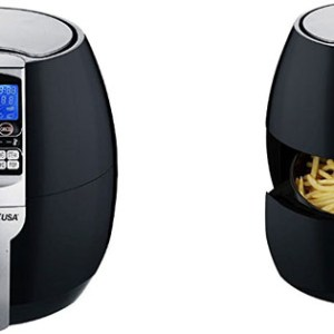 GoWISE USA in Electric Air Fryer with Digital Programmable Cooking Settings QT Black