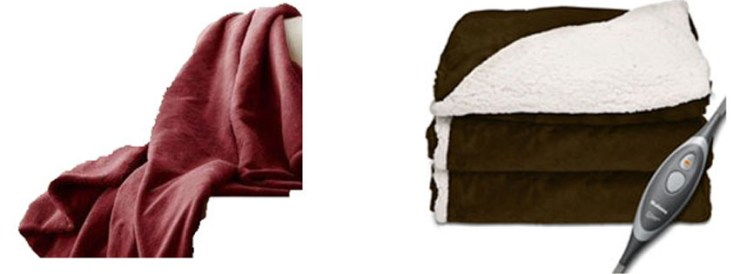 Holmes Oversized Reversible Sherpa Velvet Heated Throw Garnet