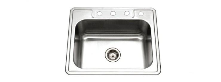 Houzer BS Glowtone Series Topmount Stainless Steel holes Single Bowl Kitchen Sink