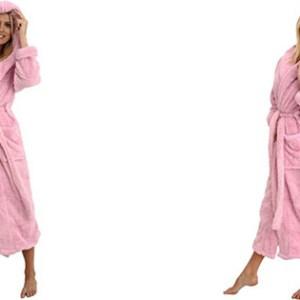 Alexander Del Rossa Womens Microfiber Fleece Bathrobe