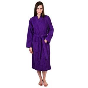 Towel Selections Turkish Cotton Terry Kimono Bathrobe Lilac