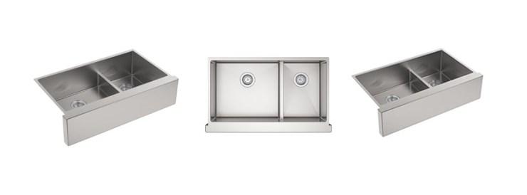 Kohler K NA Strive Self Trimming SmartDivide Undermount LargeMedium Double Bowl Kitchen Sink with Tall Apron