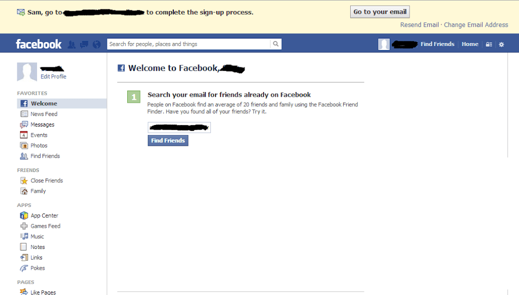 how to set up a new face book account
