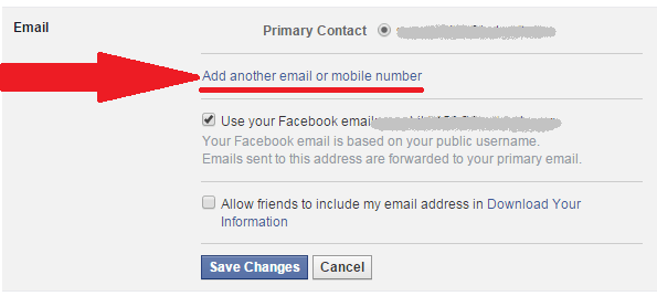 how to facebook email id change