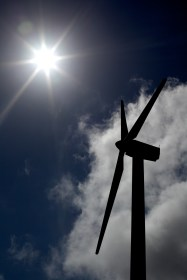 A wind turbine at a wind farm near La Tejona, Costa Rica, Thursday, Jan. 3, 2013. The turbines are 120 feet tall and the blades approximately 40 feet long. Sally French/Missouri School of Journalism