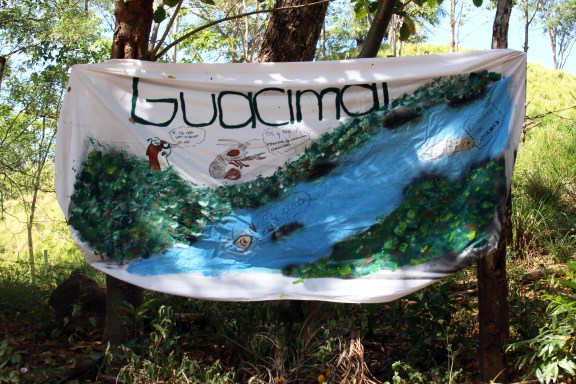 Several signs surround the scene. Meant to support the protest, many of the signs incorporated images of the river. Photo by Catherine Wendlandt.