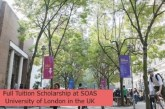Full Tuition Scholarship at SOAS University of London in the UK: (Deadline31 March 2023)