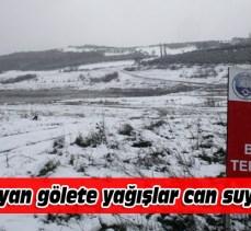 Mudanya'da kuruyan gölete yağışlar can suyu oldu
