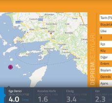 Ege Denizi'nde 4 büyüklüğünde deprem!