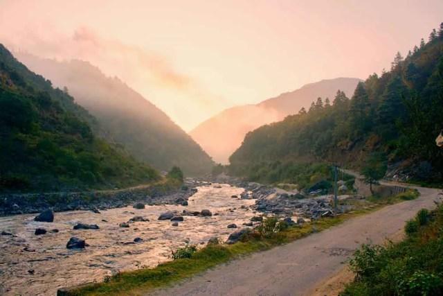Sunrise view from River Dirang Chu Dirang Tawang Muddie Trails