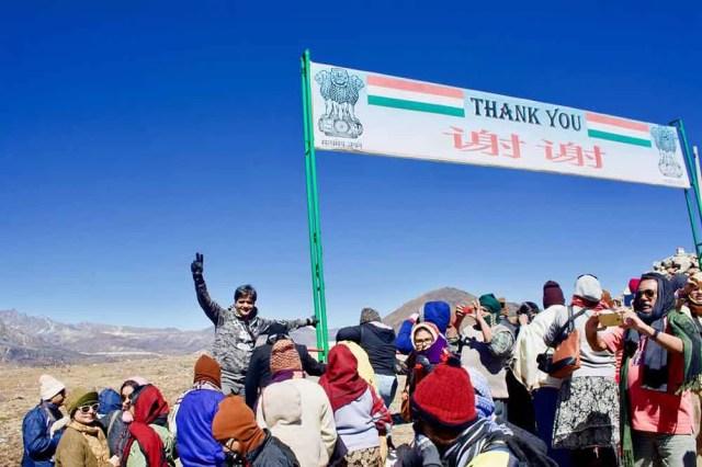 At the India-China International Border, Bum La Pass