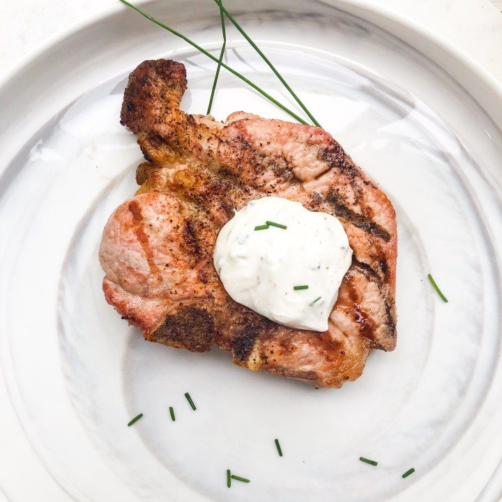 Pork Chop with Chive Crema