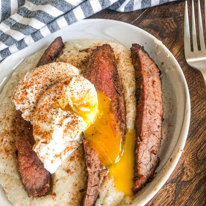 Steak and Eggs with Black Pepper and Parmesan Grits