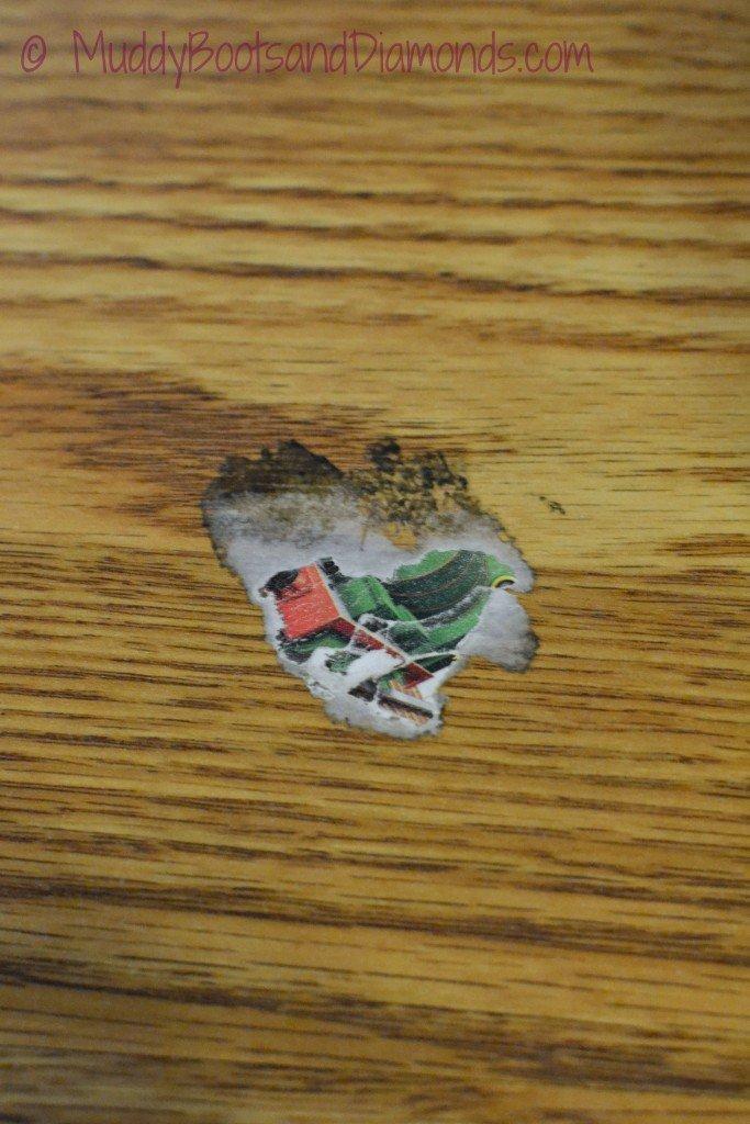 old sticker on floor
