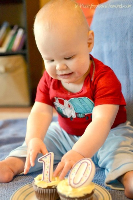 10 month old with cupcake muddybootsanddiamonds blog