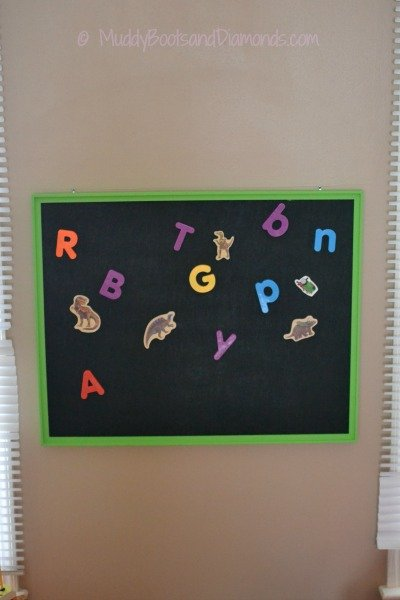 DIY Magnet Board Playroom Finished