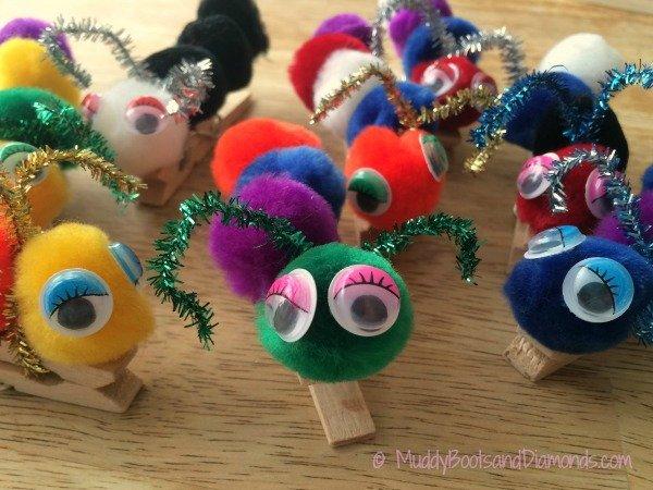 Make your own Clothespin Caterpillars using a few simple craft supplies. via muddybootsanddiamonds.com