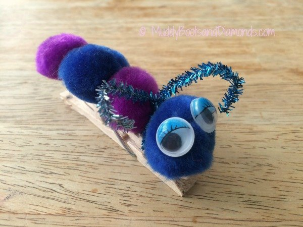 Make your own Clothespin Caterpillars using a few simple craft supplies. via muddybootsanddiamonds.com