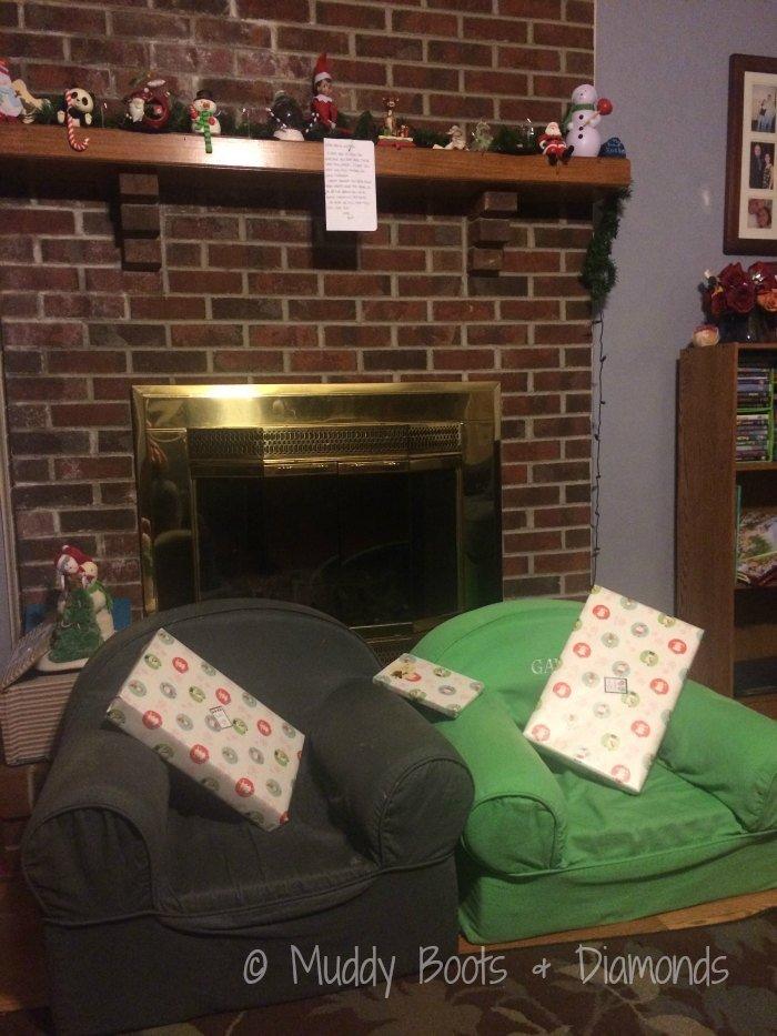 Christmas Eve Tradition: New pajamas and a book from our Elf on the Shelf via muddybootsanddiamonds.com