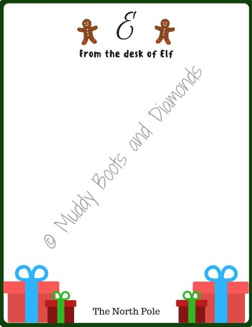 Elf on the Shelf Traditions Letterhead Printable via www.muddybootsanddiamonds.com