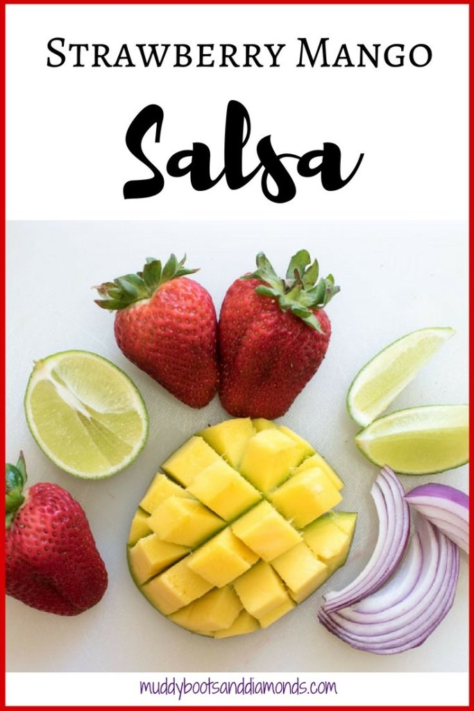 Strawberry Mango Salsa with red onion and lime juice via muddybootsanddiamonds.com