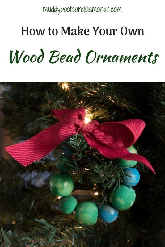 Wood Bead Ornaments via muddybootsanddiamonds.com