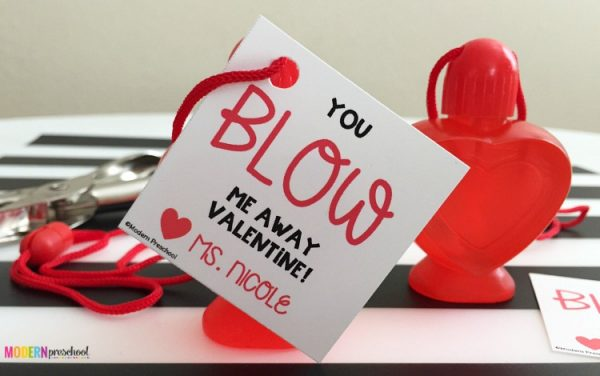 You Blow Me Away Bubble Valentines via Modern Preschool | Out of the Box Valentines for Kids via muddybootsanddiamonds.com
