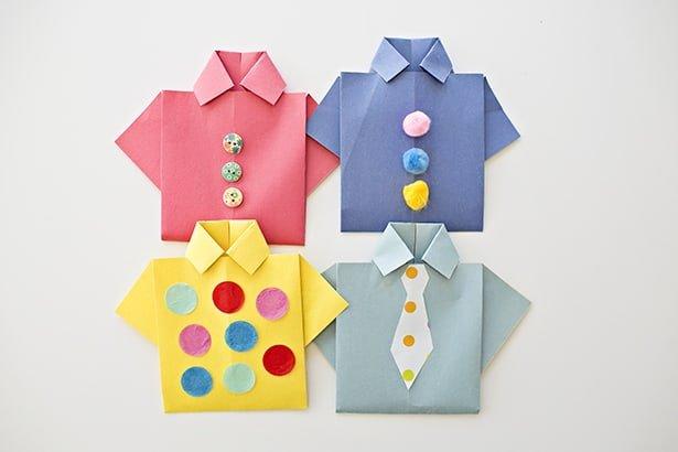 Easy Origami Shirts | Father's Day Cards via muddybootsanddiamonds.com