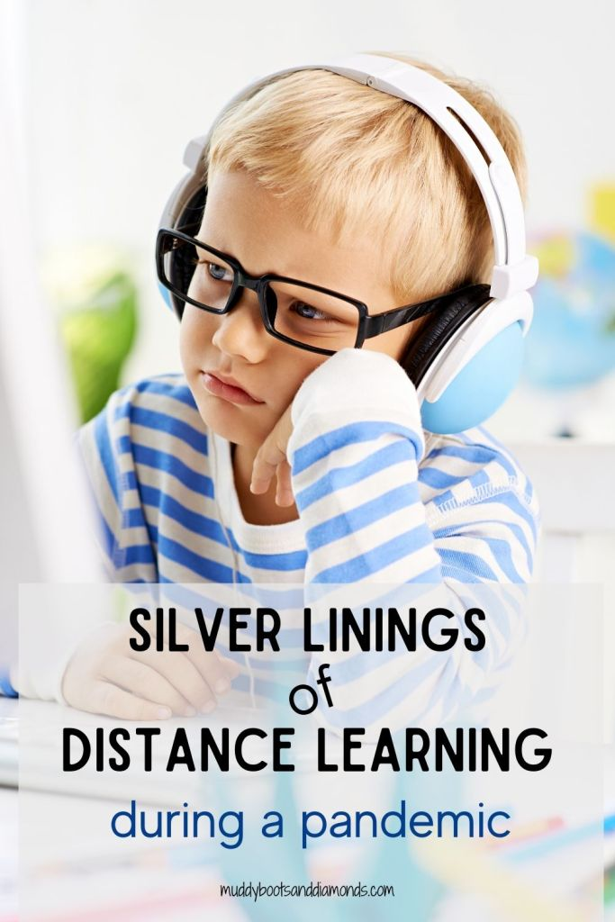 boy-glasses-headphones-looking-at-computer-Silver Linings of Distance Learning During A Pandemic Pinterest Graphic via muddybootsanddiamonds.com