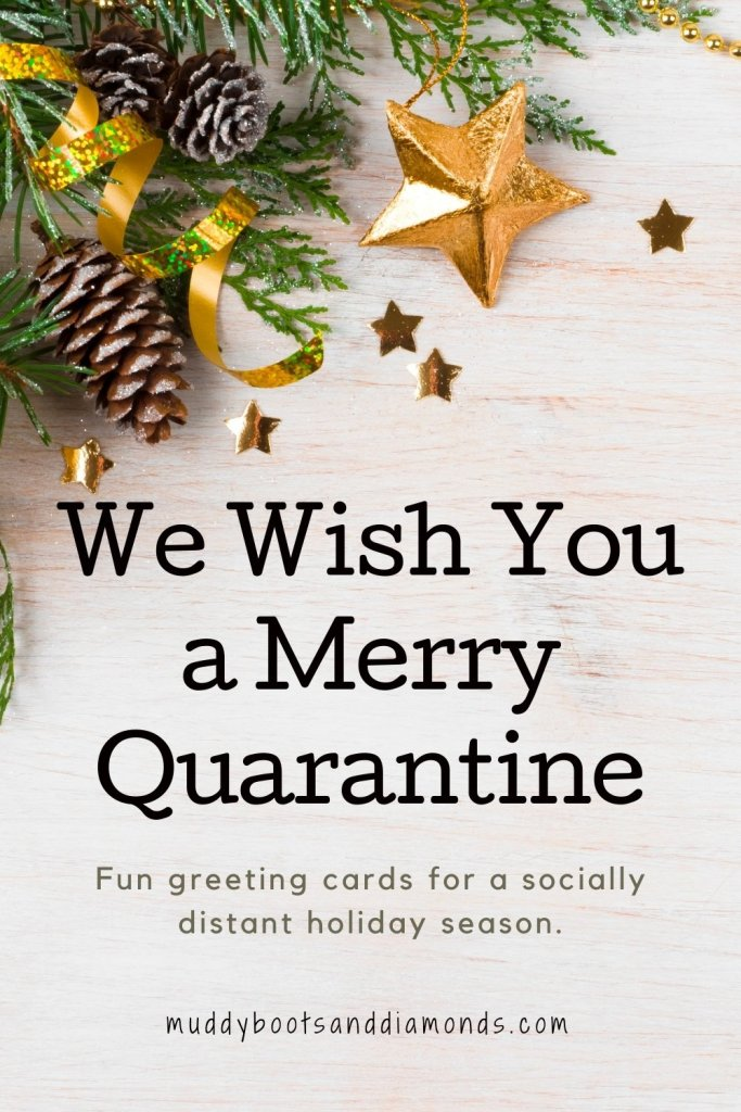 Pine Branches Pinecones and Confetti Starts with Text Overlay We Wish You A Merry Quarantine Where To Find Greeting Cards for a Socially Distant Holiday via Muddy Boots and Diamonds blog