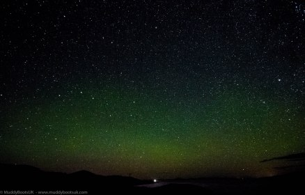 The Aurora Borealis with Rhuvaal Lighthouse in the distance