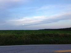 Super moon over fields in Airville, PA