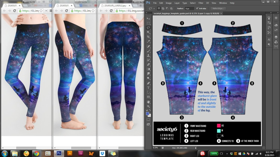 "Leggings featuring ""Ocean, Stars, Sky, and You"" by muddymelly"
