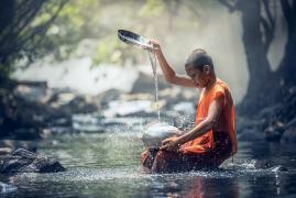 Buddhist Boy Water Ritual
